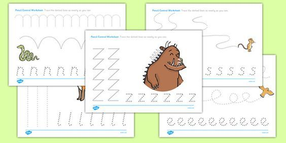 The Gruffalo Pencil Control Worksheets Sessions Pinterest The
