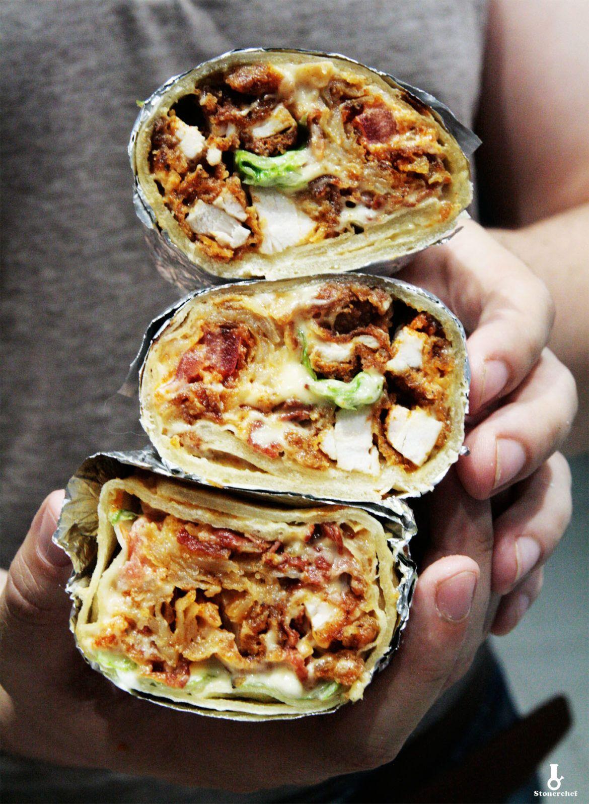 Burrito Ze Stripsami Z Kurczaka Sosem Serowym I Majonezem Wasabi Stonerchef Recipe Culinary Recipes Food Receipes Cooking