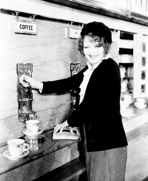 Clara Bow. Sweet coffee dispenser.