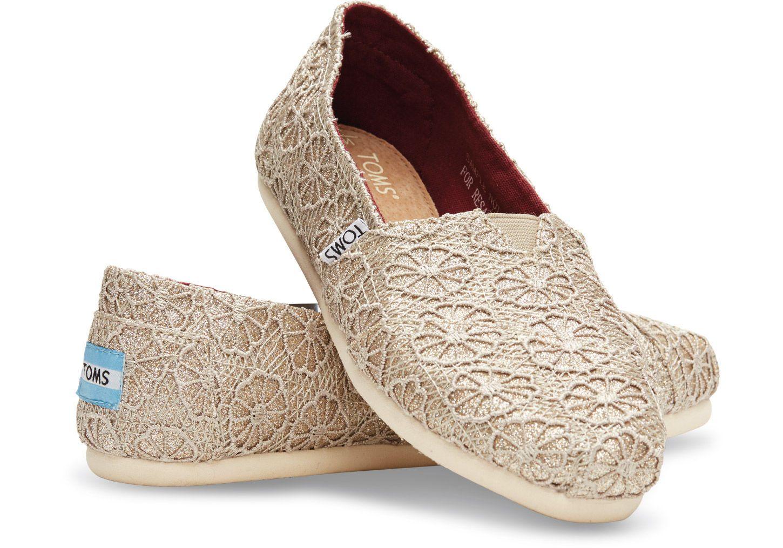 Gold Glitter Crochet Womens Classics Toms Shoes