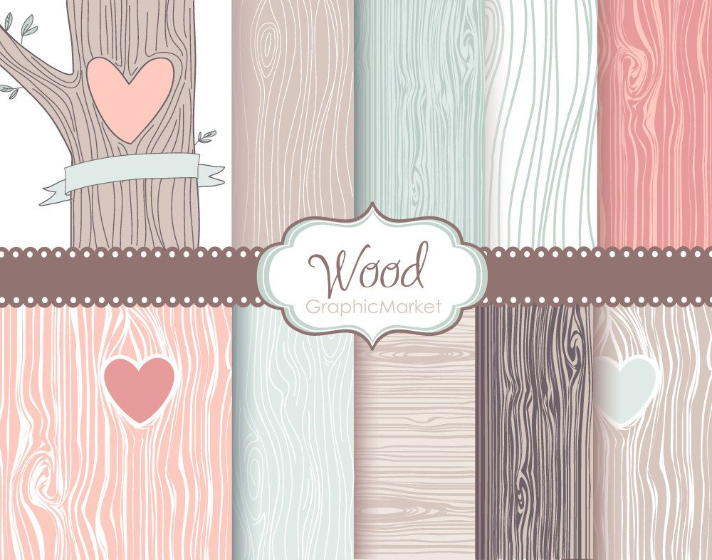 Scrapbook paper wood grain - Wood Grain Digital Paper Pack Rustic Wood Pattern Native Indian Pastel Shabby Outdoor Wedding Carved Hearttree