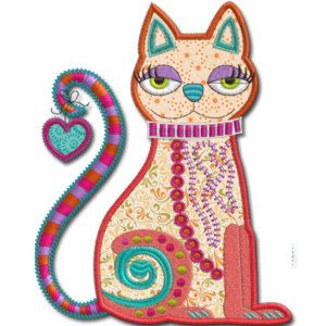 Crazy Cat Applique Machine Embroidery Design Machine Applique