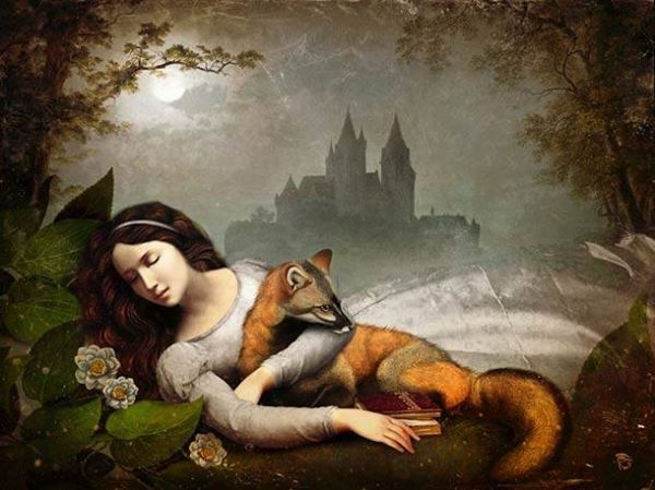 Sleeping beauty & fox under the moonlit kingdom