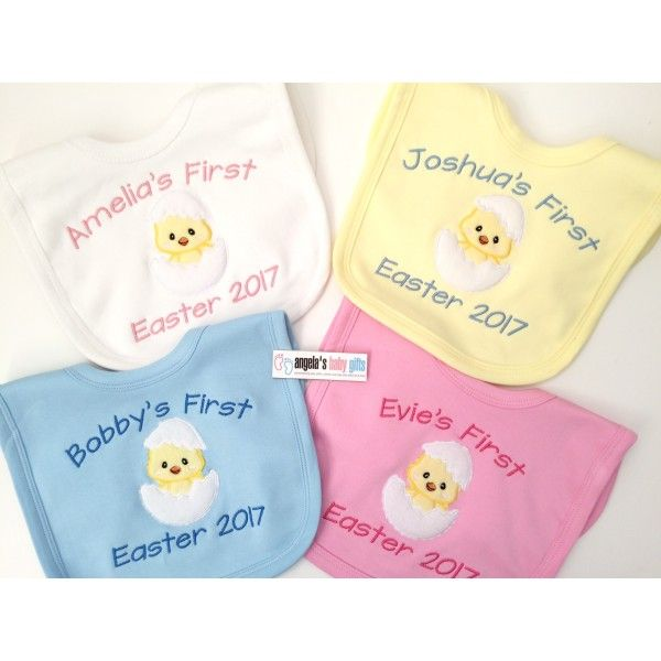 1st Easter 2017 Personalised Embroidered Baby Bib Chick