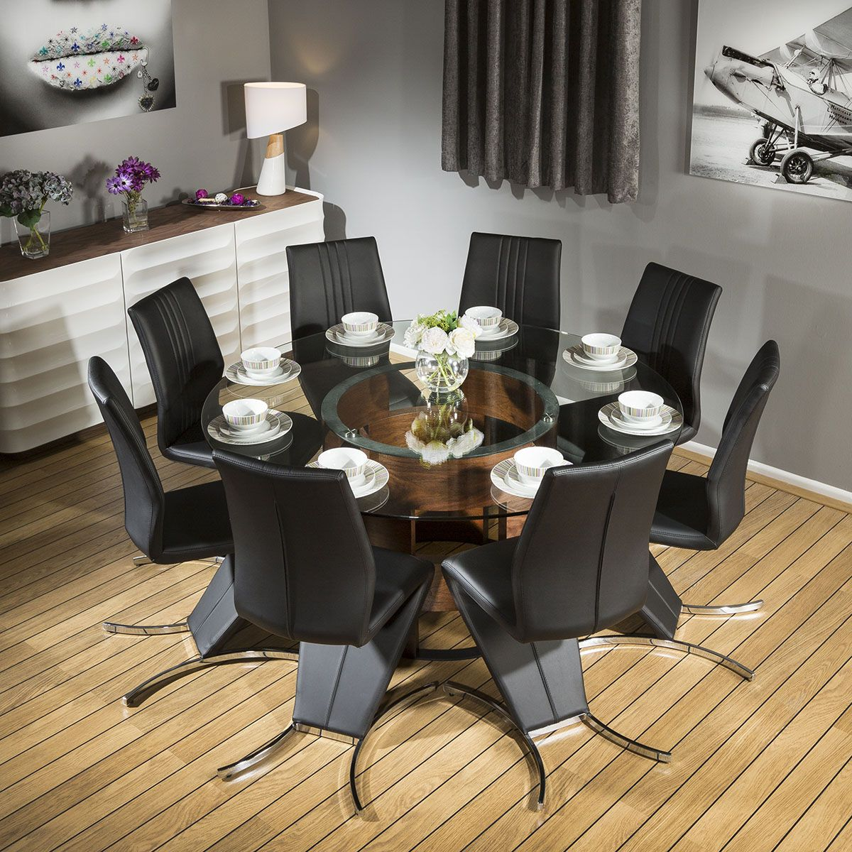 Huge Round Glass Top Walnut Dining Table Set With 8 Black Z Chairs