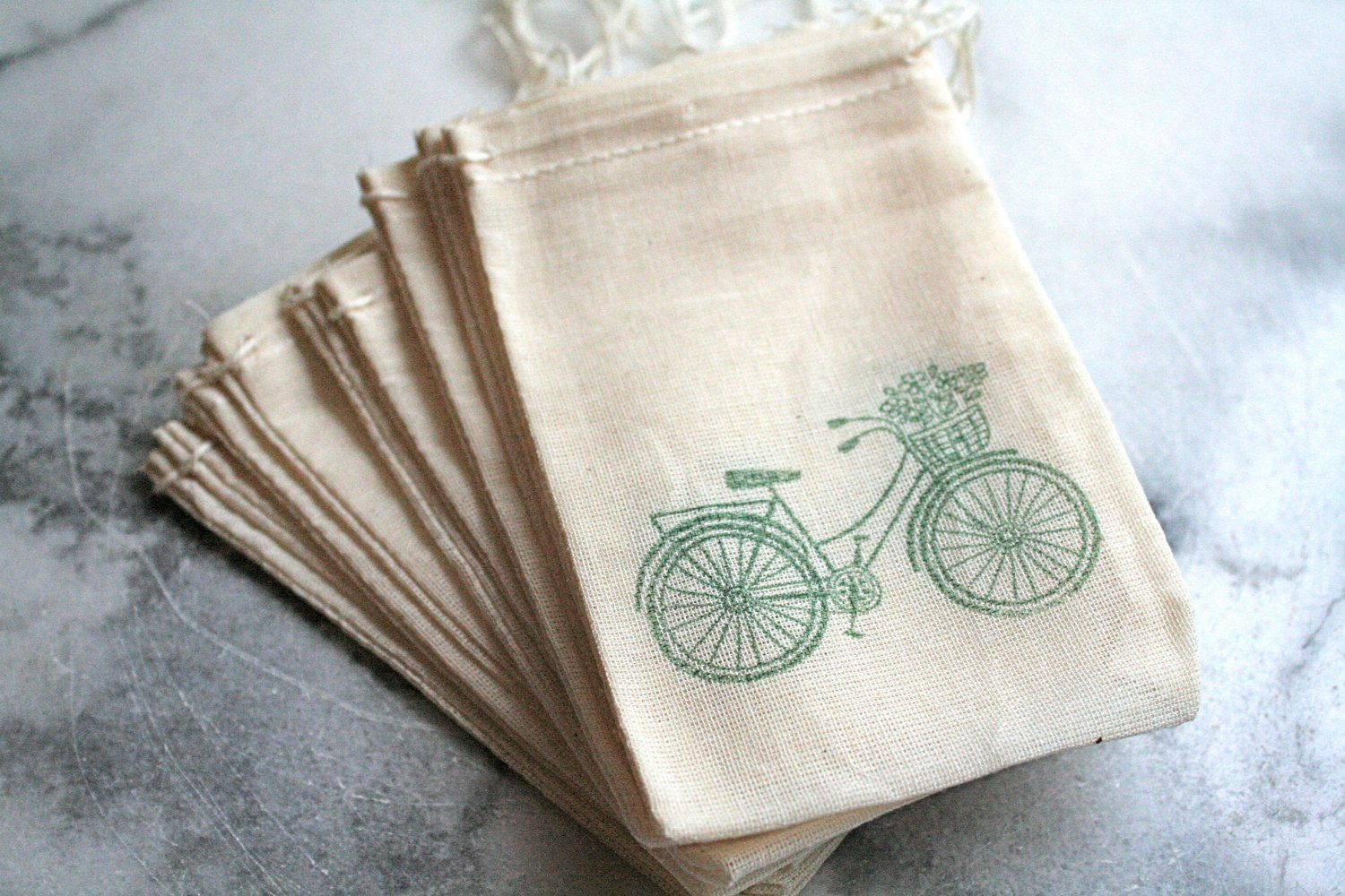 Bicycle favor bags, muslin, 3x5. Set of 50. Bike with basket, green ...