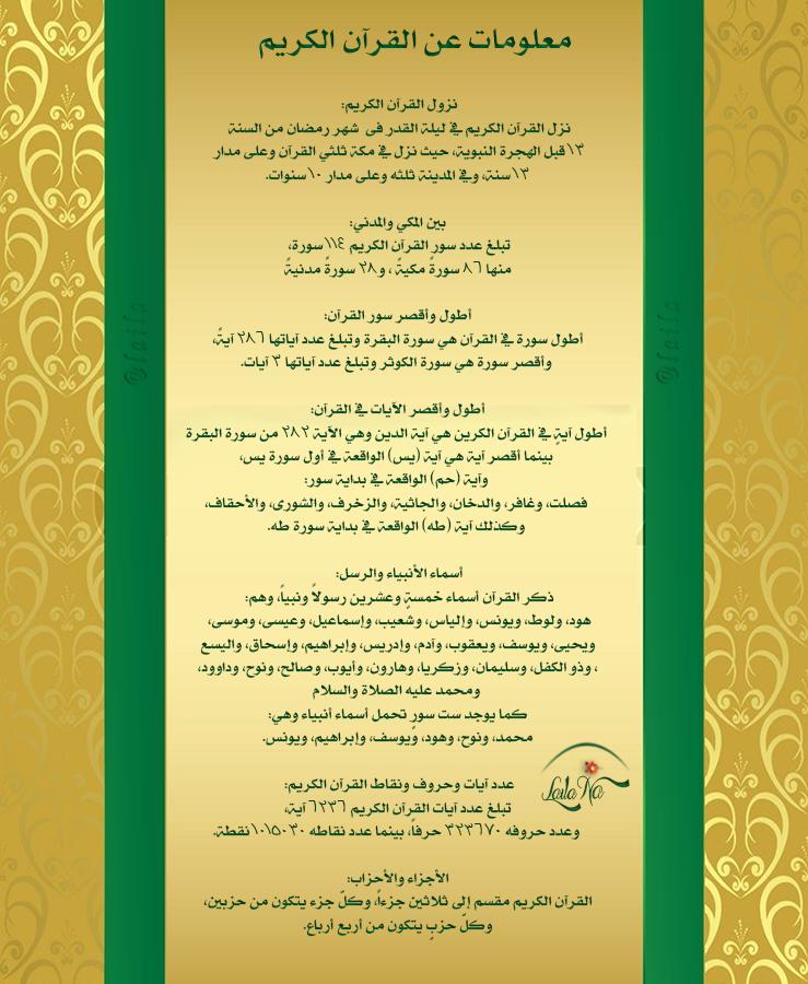 معلومات عن القرآن الكريم Islamic Quotes Holy Quran My Design