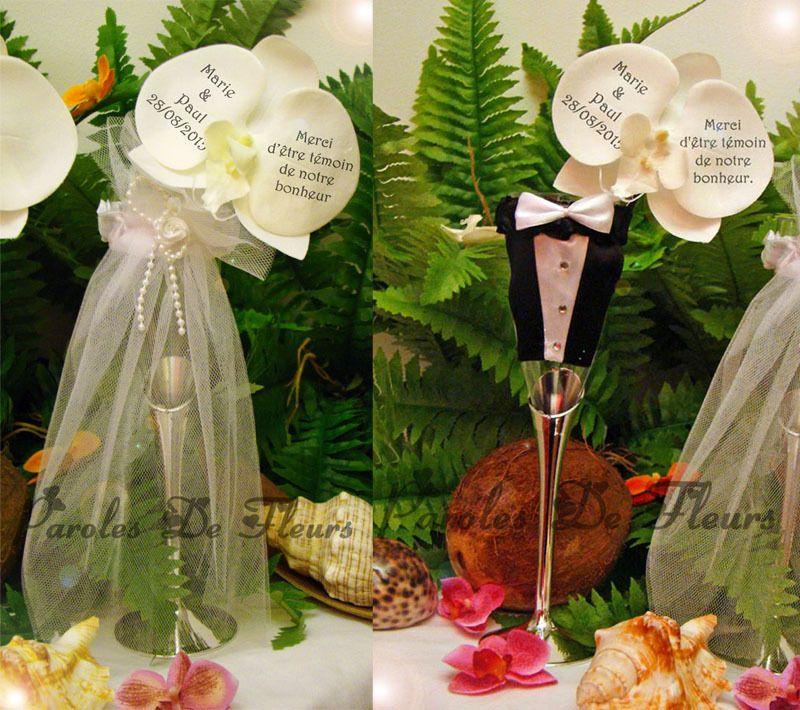 duo coupe champagne costume et robe de marié et orchidées à personnaliser mariage/baptême : Autres bébé par photo-sur-fleurs