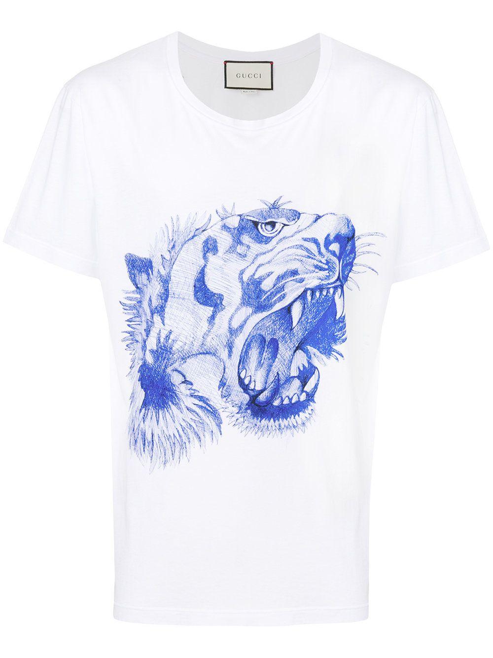 d5c2c817ea0 Gucci camiseta con estampado de cabeza de tigre Tiger Head