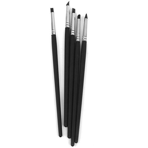 Set of 5 Flexible Silicone Clay Sculpture Shaper Brushes,Wipe Out Tools for Pottery Painting Carving Clay Sculpture Modeling