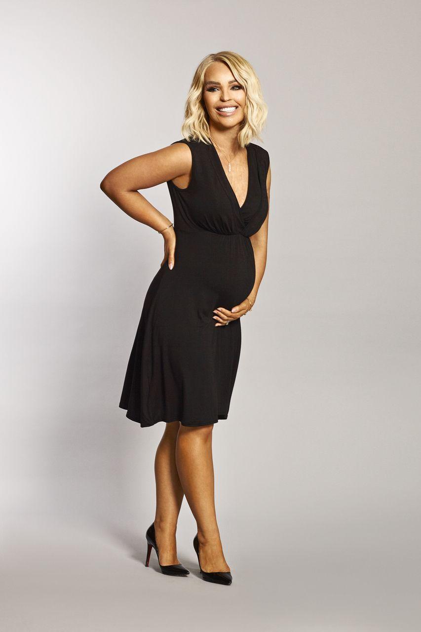 9dde24ccb5186 Katie Piper Maternity Breastfeeding Black Wrap Over Jersey Dress ...