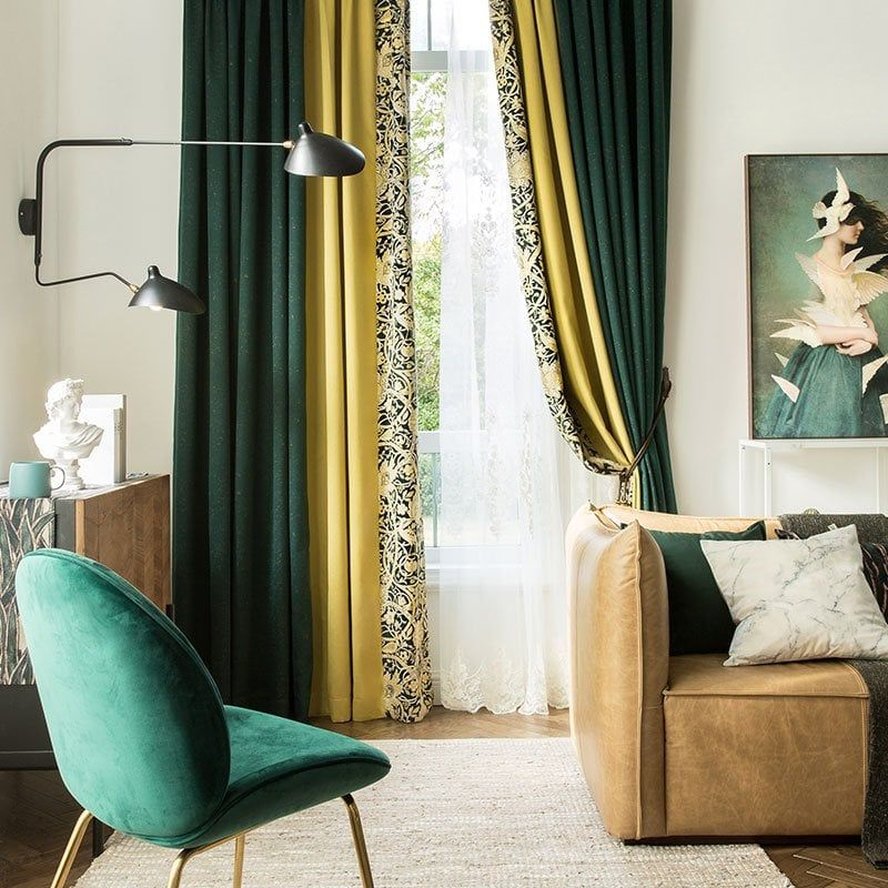 Luxury Vintage Green Yellow Blackout Curtains White Tulle Curtains Curtains Living Room Luxury Curtains Living Room Decor Curtains