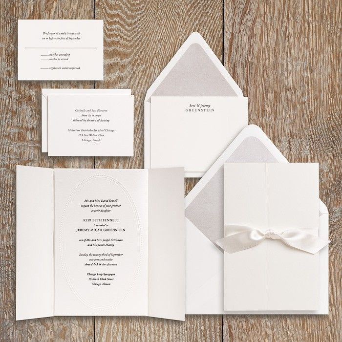 Beaded Oval Wedding Invitation Suite