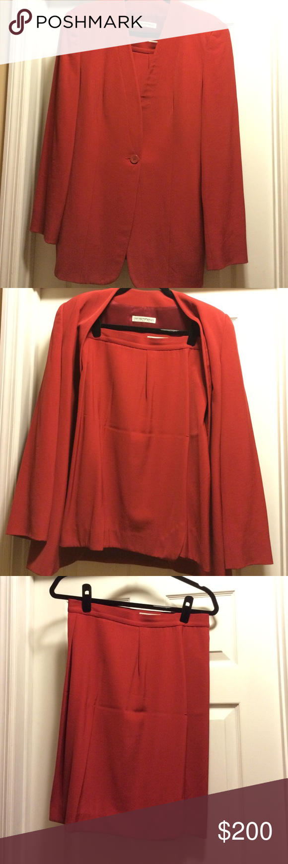 Emporio Armani skirt suit. Red size 46 Red jacket and skirt. 70%wool 30%viscosa. Skirt 22 inches long from waist. Skirts Skirt Sets