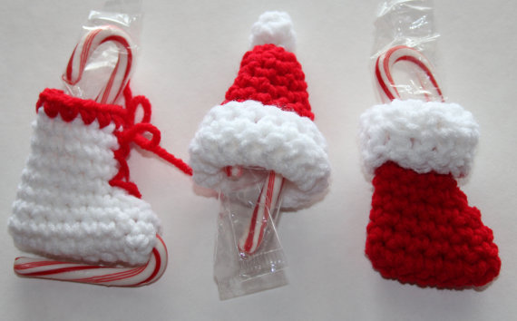 Mini Candy Cane Holder Christmas Ornaments Crochet Pattern Crochet