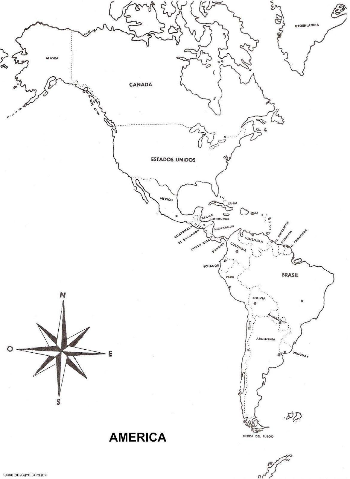 continente americano con nombres y division politica para imprimir ...