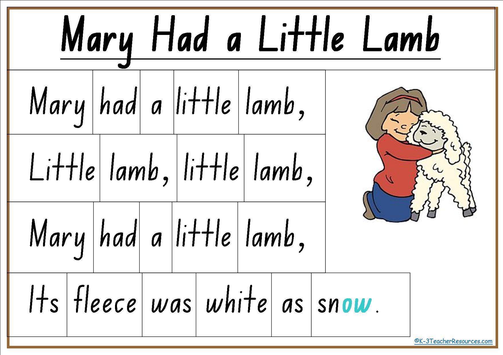 Mary Had A Little Lamb Nursery Rhyme Lyrics Chart