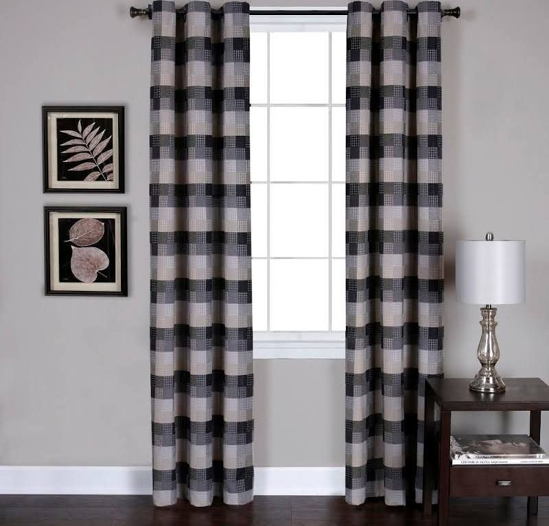 Black And Gray Striped Curtains