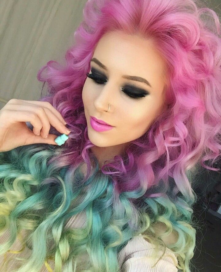 pink rainbow dyed curly hair
