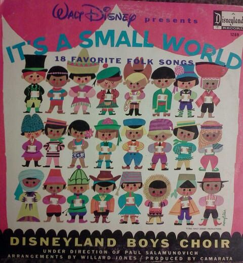 Disneyland Records Its A Small World vintage vinyl from 1965- Cover is in very good condition as seen in pics, but has a seam split along the