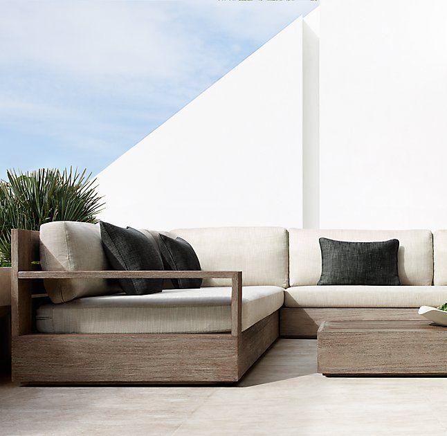 Marbella Teak Luxe Customizable Sectional Teak Outdoor Garden