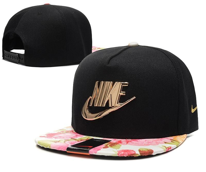 Men s Nike Futura True Nike Gold Metal Check   Pin Snapback Hat - Black    Pink Floral 0a2f71befec