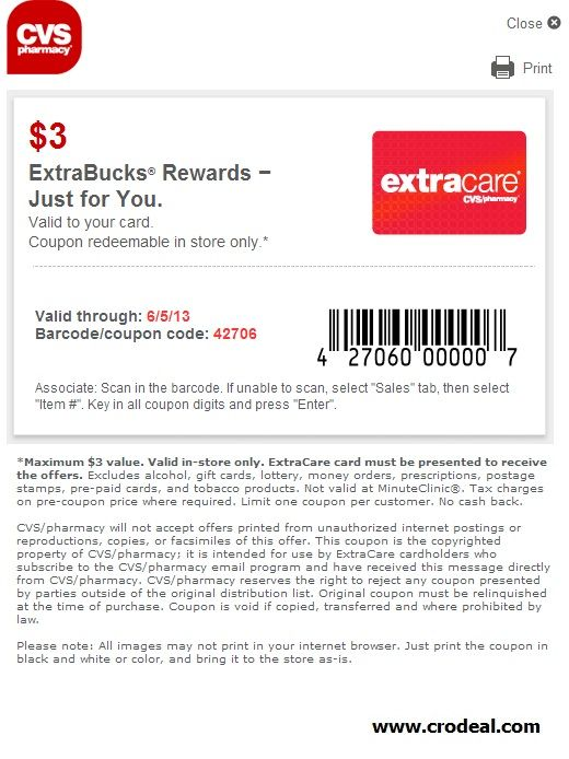 Cvs Free 3 Extrabucks Coupon Cvscoupon Cvs Pharmacy Free Printable Coupons All Coupons Cvs