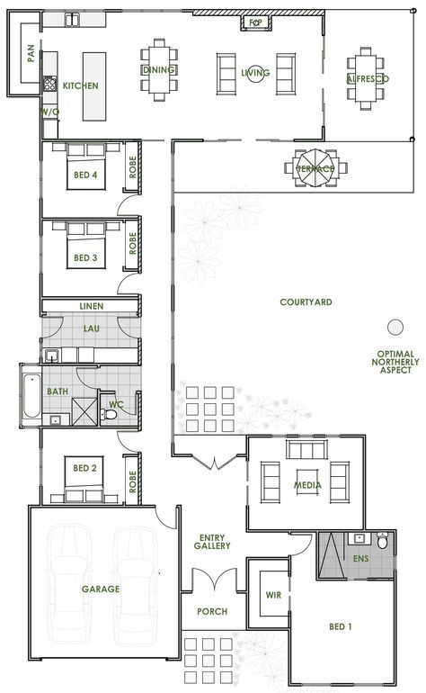 The Elara Offers The Very Best In Energy Efficient Home Design From Green Homes Australia Ta U Shaped House Plans Open Floor House Plans Courtyard House Plans