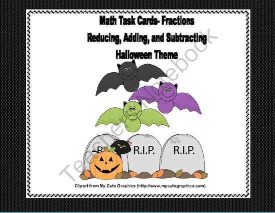 Grades 4-5 Fractions Task Cards- Reducing, Adding, and Subtraction-Halloween from Mrs. Mc's Shop on TeachersNotebook.com -  - Here's a collection of printable task cards that will give your students practice in fractions.  There are 60 cards in all.  20 are reducing fractions, 20 are practice in adding and 20 in subtraction. All with a fun Halloween theme.  An answer key an