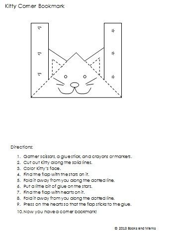 DIY Kitty Corner Bookmark. Redesigned for classroom use. Free ...