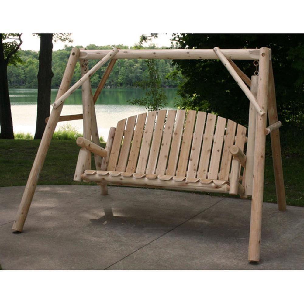 Garden Porch Swing & Stand White Cedar Wood Contoured Seat Slats ...