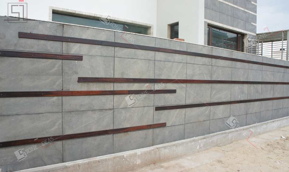 Natural Stone Elevation Tiles : Natural stone tiles application as wall cladding on