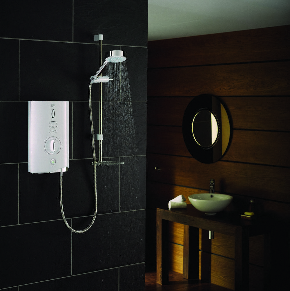 Mira Sport Max Electric shower - White Shower in a black bathroom ...