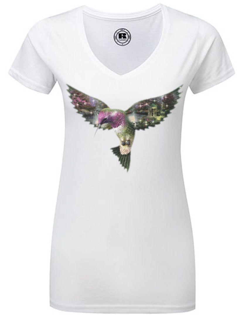 V-Neck T-Shirt with print hummingbird by TachinedasCreative on Etsy