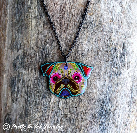 Day of the Dead Pug Sugar Skull Dog Necklace by PrettyInInkJewelry, $19.95