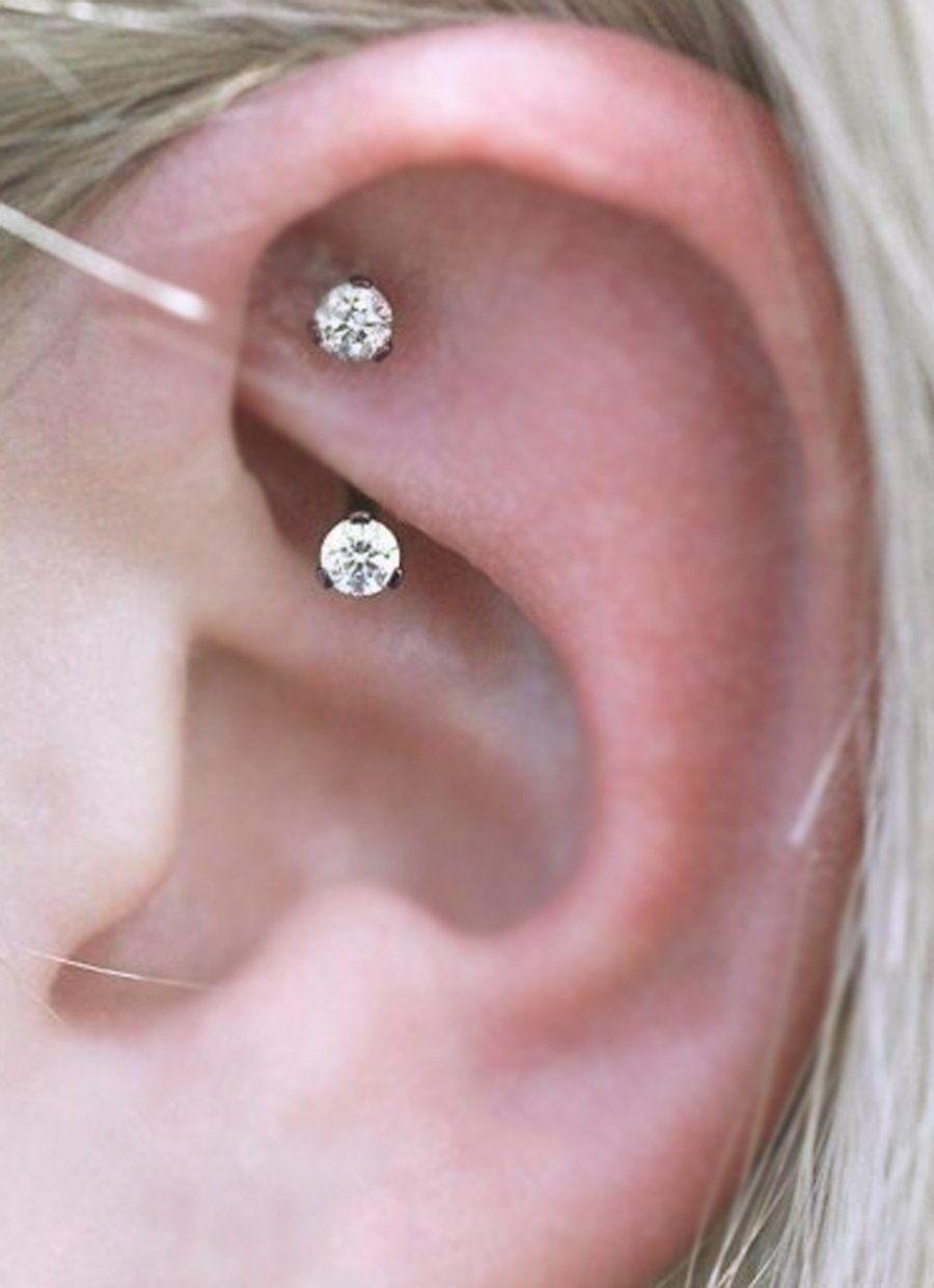 Alex Swarovski Crystal Curved 16g Barbell Rook Piercing Jewelry Rook Jewelry Ear Piercings Rook