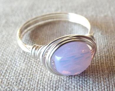 Silver Lavender Wrap Around Rings