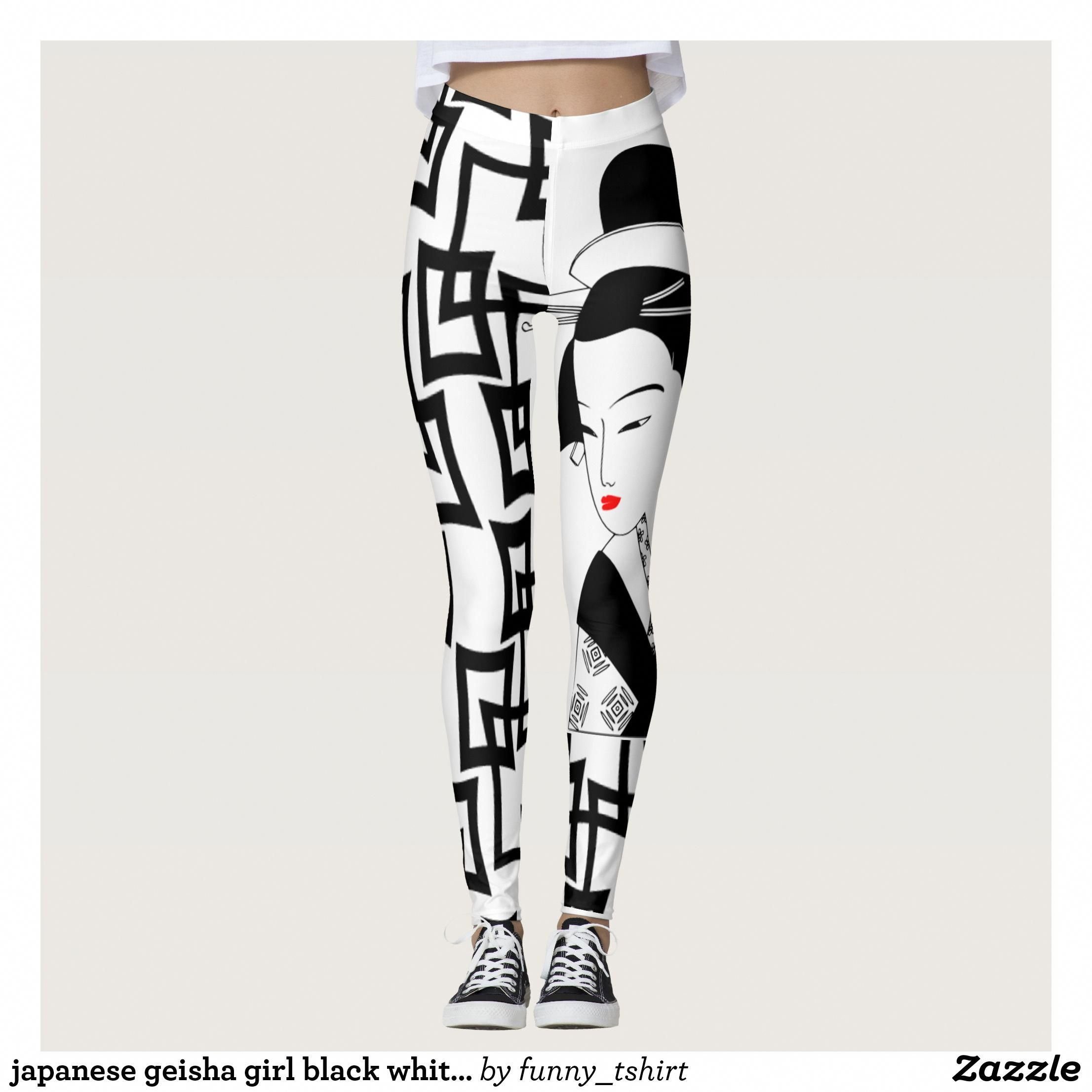 c3f70a12693e5 japanese geisha girl black white graphic leggings   Beautiful  Yoga Pants -   Exercise Leggings and  Running Tights - Health and Training Inspiration ...