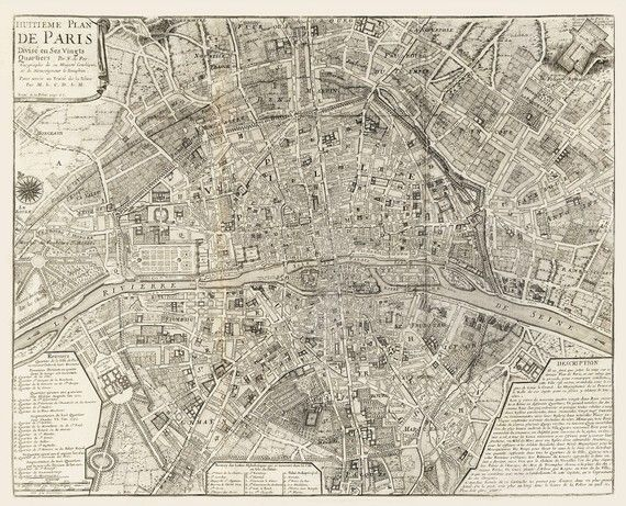 Paris Map Wallpaper.Map Of Paris France In 1705 Printed By Imagerich On Etsy 30 00