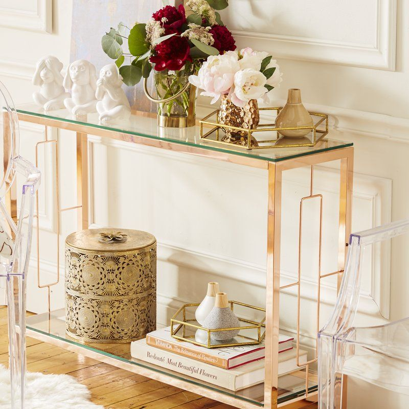 Willa Arlo Interiors Manny 42 25 Console Table Wayfair Console Table Decorating Home Decor Glass Console Table