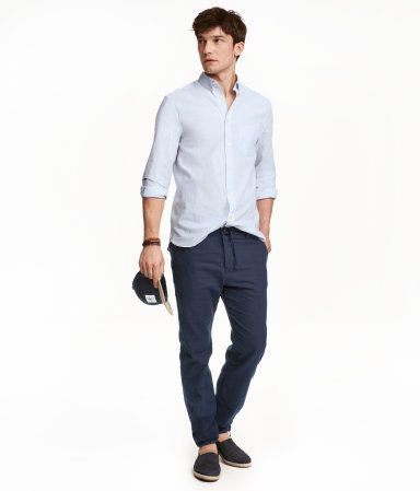 Linen-blend Pants | Dark blue | Men | H&M US | Ryan | Pinterest ...