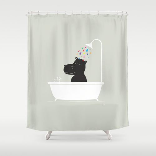 The Happy Shower Curtain Hippo