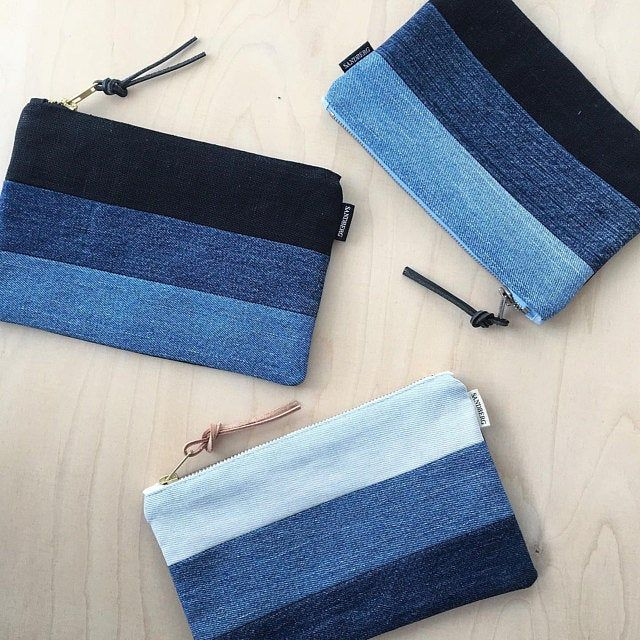 Blue Denim and Black Linen Cosmetic Bag, Recycled Denim Zipperpouch Modern Colourblocking Pencilcase, Multipurpose Bag