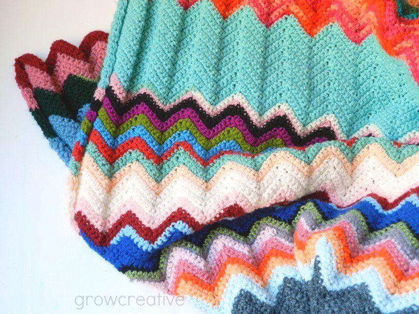 Free Crochet Ripple Chevron Blanket Pattern by Elise Engh: Grow ...