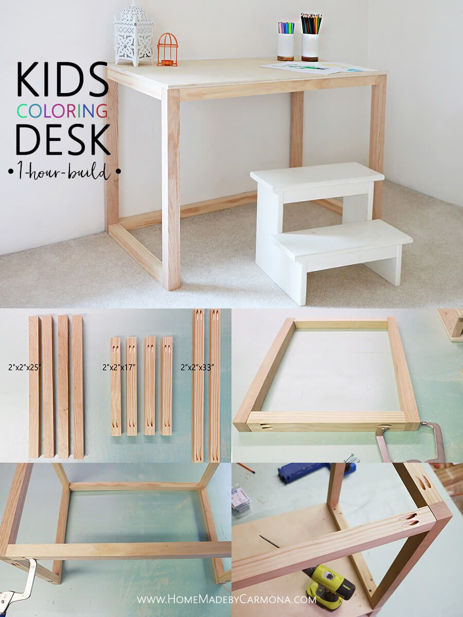 Simple 1-Hour Kids Coloring Desk | Super dad, Super mom and Desks