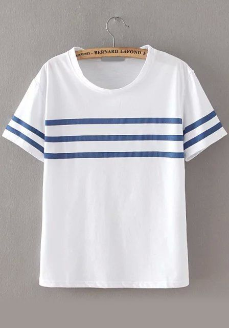 ccd3df770d Shop Round Neck Striped Loose T-shirt online. SheIn offers Round Neck  Striped Loose