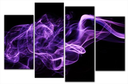 Dark Purple Wall Art | Purple Smoke On Black Abstract Canvas Wall Art Print  4 Panel Print 40 .