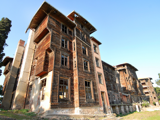 Turkey, Istanbul, Rum Orphanage - This large wooden building on Büyükada,  off the coast of Turkey, …   Abandoned places, Places in europe, Places  around the world