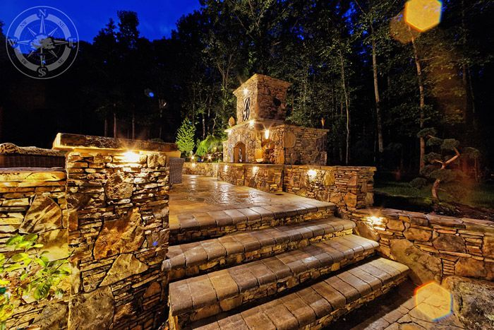 A view of the sparkling stairways with outdoor lighting. #Backyard #Retreat