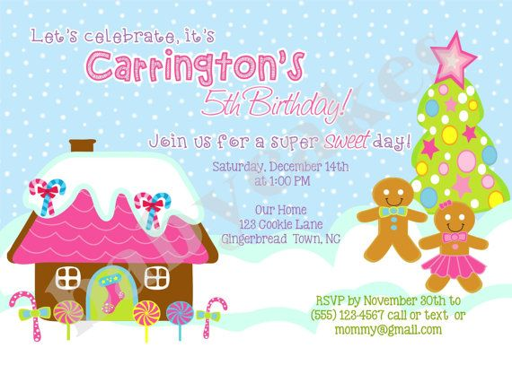 Gingerbread Birthday Invitation  DIY Print Your Own by jcbabycakes, $10.00